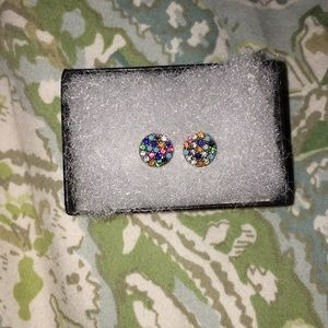 Multicolored pave earrings